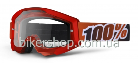 STRATA Moto Goggle Fire Red - Clear Lens